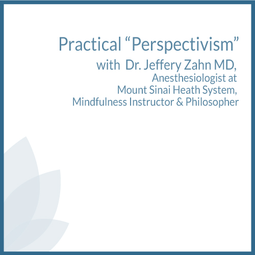 """practical """"perspectivism"""" with Dr. Jeffery Zahn MD, anesthesiologist at Mount Sinai Heath System, mindfulness instructor & philosopher"""