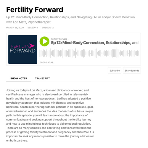 RMA Fertility Forward – Mind-Body Connection, Relationships, and Navigating Ovum and/or Sperm Donation